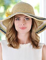Для женщин Винтаж Для вечеринки Для офиса На каждый день Соломенная шляпа,Весна Лето осень Соломка Пэчворк