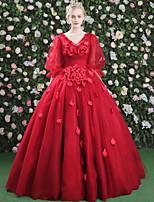 Formeller Abend Kleid - Blumen Elegant Zuschnüren Ballkleid V-Ausschnitt Boden-Länge Satin Tüll mitKristall Verzierung Drapiert Blume(n)
