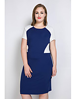 Women's Plus Size Casual/Daily Party Sexy Simple Street chic Bodycon Shift Tunic Dress,Color Block Round Neck Midi Short SleeveCotton