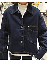 Women's Casual/Daily Simple Spring Denim Jacket,Solid Round Neck Short Others