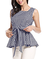 Women's Going out Casual/Daily Holiday Vintage Street chic Summer Shirt,Plaid Square Neck Sleeveless Cotton