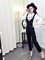 Women's Casual/Daily Simple Spring Fall Shirt Dress Suits,Solid Strap Long Sleeve Cotton