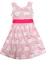 Girls Dress Fashion Pink Cats Print Dresses Party Casual Princess Kids Clothing