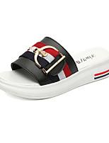 Women's Slippers & Flip-Flops Summer Mary Jane Leatherette Outdoor Dress Casual Flat Heel Buckle Black White Walking