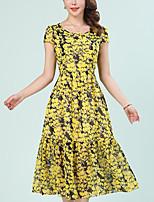 Для женщин На каждый день Большие размеры Простое А-силуэт Платье С принтом,Круглый вырез Средней длины С короткими рукавами Полиэстер