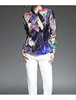 Women's Casual/Daily Simple Shirt,Print Shirt Collar Long Sleeve Polyester Thin