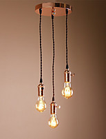 3 Head Mini Cluster Chandelier Hanging Pendant Light with Braided Textile Cord Metal holder With Knob switch