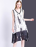 Women's Going out Casual/Daily Vintage A Line Dress,Print V Neck Midi Sleeveless Silk Linen Summer Mid Rise Inelastic Thin