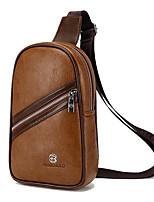 Men PU Sports Casual Outdoor Office & Career Sling Shoulder Bags Khaki Brown Black