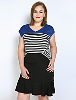 Women's Plus Size Casual/Daily Party Sexy Vintage Street chic A Line Sheath T Shirt Dress,Striped Color Block V Neck Above KneeShort