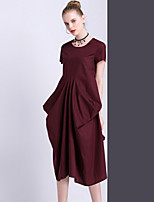 Women's Going out Casual/Daily Simple Swing Dress,Solid Round Neck Midi Short Sleeve Cotton Rayon Summer Mid Rise Inelastic Medium