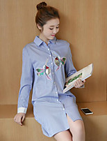 Women's Casual/Daily Simple Shirt,Embroidered Shirt Collar Long Sleeve Polyester