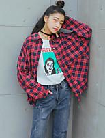 Mujer Simple Noche Casual/Diario Primavera Verano Camisa,Cuello Camisero Estampado Manga Larga Algodón Fino