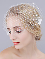 Handmade Wedding Veil One-tier Blusher Pearl Veils Cut Edge Net Two Alloy Combs New