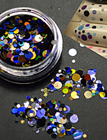 1Bottle Fashion Colorful Mixed Size Nail Art Beauty Laser Glitter Round Paillette Slice Decoration P7