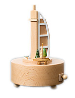 Music Box Circular Famous buildings Model & Building Toy Wood Unisex