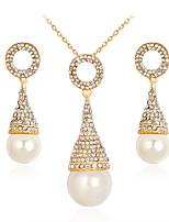 Collier / Boucles d'oreilles Mode euroaméricains Perle Alliage Forme Géométrique 1 Collier 1 Paire de Boucles d'Oreille PourMariage
