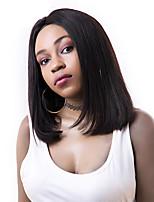 8a grau perucas virgens brasileiras do prumo do cabelo perucas retas do cabelo humano da parte dianteira do laço peruca virgem curta do