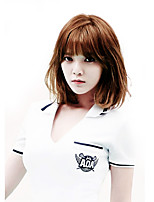 Fashion lady short fake maroon brown straight straight bangs high temperature wire wig
