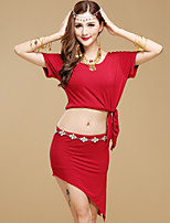 Belly Dance Outfits Women's Performance Modal 2 Pieces Short Sleeve High Top Skirt