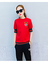 Women's Going out Casual/Daily Sports Simple Active T-shirt Pant Suits,Solid Round Neck Half Sleeve