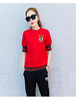Для женщин Спорт На выход На каждый день Как у футболки Брюки Костюмыпросто Активный Однотонный