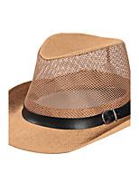 Men's Summer  Middle-aged Jazz Cap Sunscreen Linen Belt Buckle Decoration Old Man Straw Hat