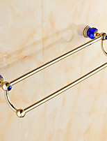 European Style Solid Brass Blue Crystal Gold Bathroom Shelf Bathroom Double Towel Bar Bathroom Accessories