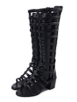 Women's Boots Summer Fall Club Shoes Comfort Novelty PU Outdoor Office & Career Party & Evening Dress Casual Chunky Heel Zipper Black