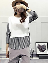 Women's Casual/Daily Simple T-shirt,Solid Striped Round Neck Long Sleeve Polyester