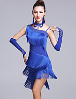 Latin Dance Dresses Women's Performance Viscose Crystals/Rhinestones Tassel(s) 5 Pieces Sleeveless Natural Dress Gloves Neckwear Shorts