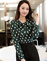 Women's Going out Simple Blouse,Floral V Neck Long Sleeve Silk