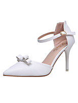 Women's Heels Ankle Strap Leather Wedding Office & Career Party & Evening Dress Stiletto Heel Bowknot Walking Shoes