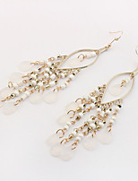 Drop Earrings Tassel Euramerican Bohemian Acrylic Alloy Teardrop White Jewelry For Daily 1 Pair