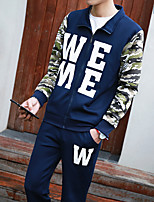 Men's Casual/Daily Sweatshirt Color Block Round Neck strenchy Cotton
