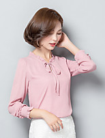 Women's Casual/Daily Simple Cute Shirt,Solid Floral Round Neck Long Sleeve Cotton