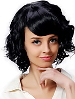 Cheap Black Color Wave Side Bang Synthetic Hair Daily Wigs for Women