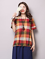 Women's Casual/Daily Vintage Spring T-shirt,Check Round Neck Short Sleeve Cotton Thin