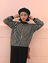 Women's Going out Vintage T-shirt,Striped Round Neck Long Sleeve Cotton