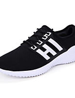 Unisex Sneakers Spring Summer Comfort Couple Shoes Tulle Outdoor Athletic Casual Flat Heel Lace-up Black/White Black