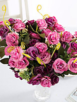 3 Branch 21 Heads Polyester Roses Tabletop Flower Artificial Flowers