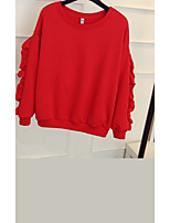 Women's Casual/Daily Sports Sweatshirt Solid Round Neck Micro-elastic Rayon Long Sleeve