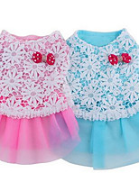 Собаки Платья Одежда для собак Лето В горошек Милые Мода На каждый день Синий Розовый