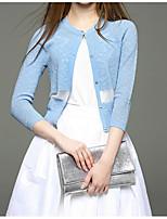 Damen Kurz Strickjacke-Lässig/Alltäglich Solide Rundhalsausschnitt Baumwolle Frühling Dünn Mikro-elastisch