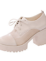 Women's Heels Spring Fall Club Shoes Comfort Mesh Breathe Flange Freely Office & Career Dress Casual Chunky Heel Lace-up