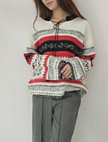 Women's Going out Casual/Daily Cute Regular Pullover,Print Color Block Asymmetrical Long Sleeve Rayon Spring Fall Medium Micro-elastic