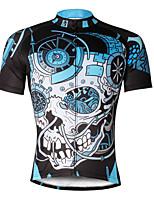 Camisa para Ciclismo Homens Manga Curta MotoRespirável Secagem Rápida Resistente Raios Ultravioleta Compressão Materiais Leves Tiras