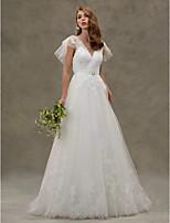 LAN TING BRIDE A-linje Bryllupskjole - Elegant og luksuriøs Smuk ryg Børsteslæb V-hals Tyl medApplikeret broderi Krystalblomsternål Bælte