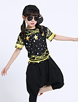 Jazz Outfits Kid's Performance Cotton 2 Pieces Short Sleeve Natural Top Pants