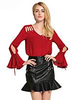 Damen Solide Sexy Ausgehen Lässig/Alltäglich Bluse,Rundhalsausschnitt Frühling Sommer Langarm Baumwolle Polyester Dünn